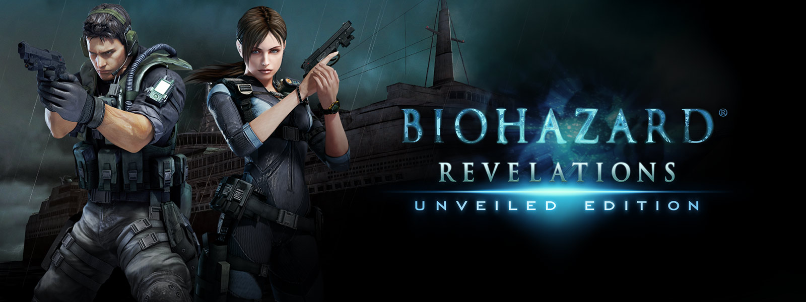 バイオハザード リベレーションズ、亡霊のようなクルーズ船の前で拳銃を持った 2 人のキャラクター