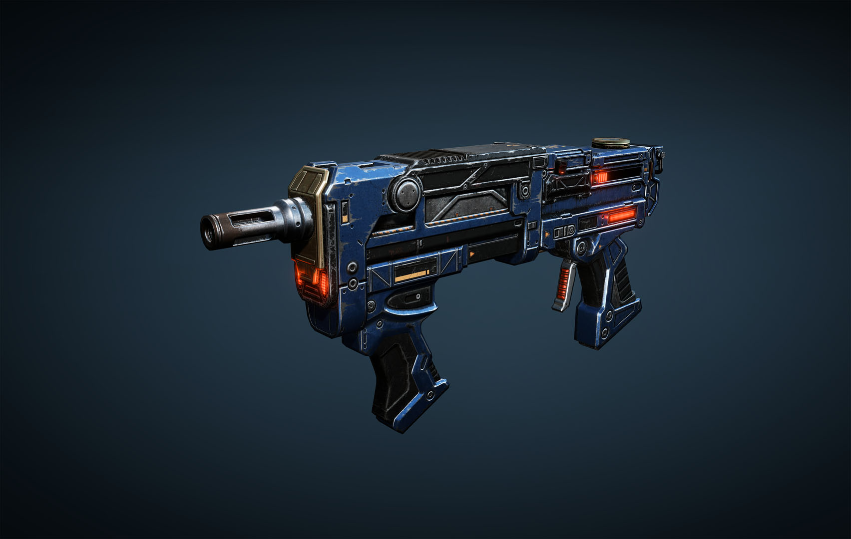 Enforcer: weapon is a minigun type with forward and back handles