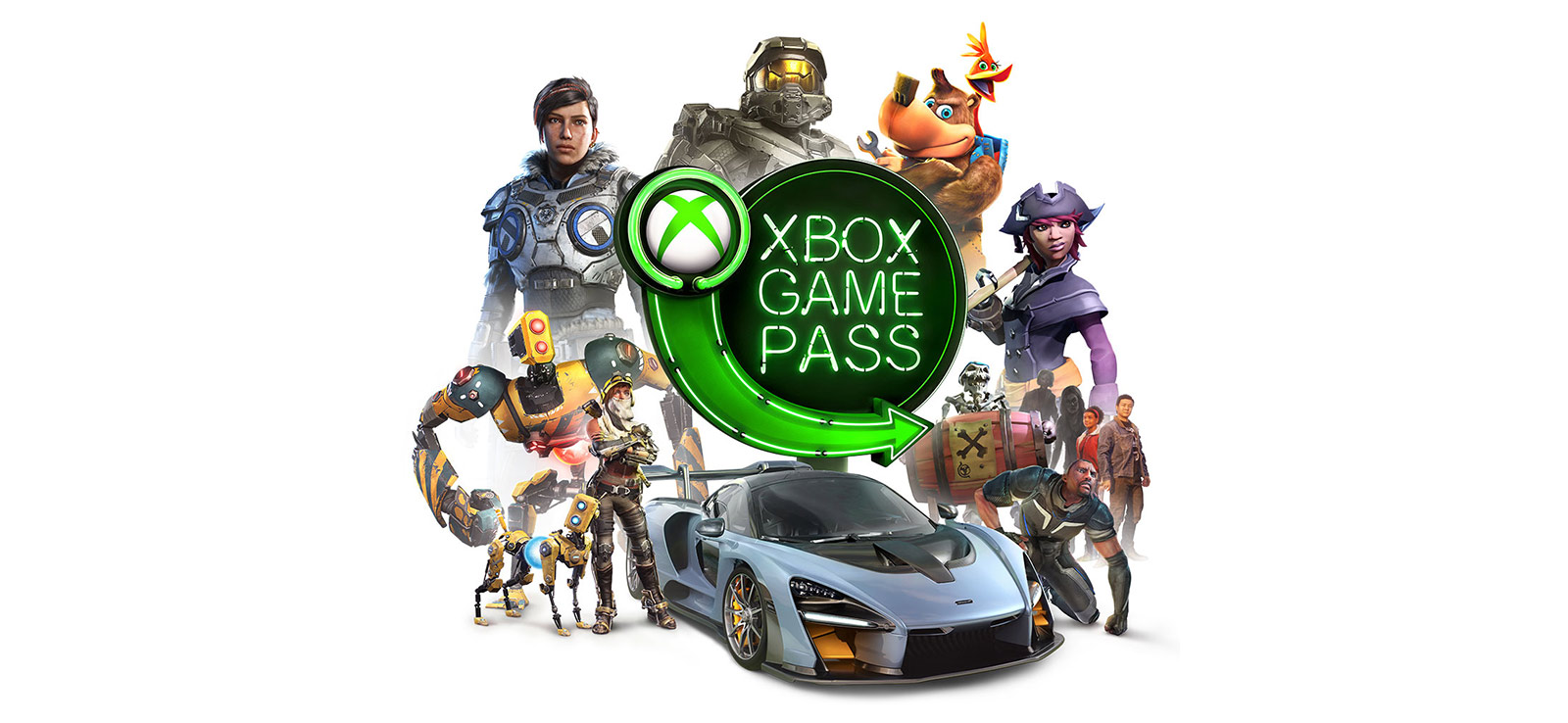 Xbox Game Pass logo surrounded by participating characters