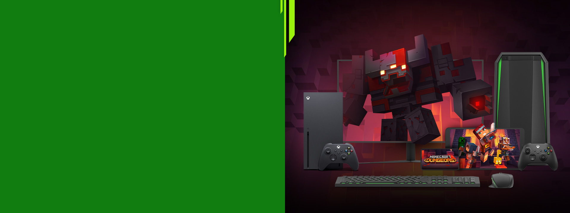 Minecraft Dungeons. A redstone monstrosity looms over adventurers escaping a PC monitor, tablet and mobile device. An Xbox SeriesX and PC rest on either side.