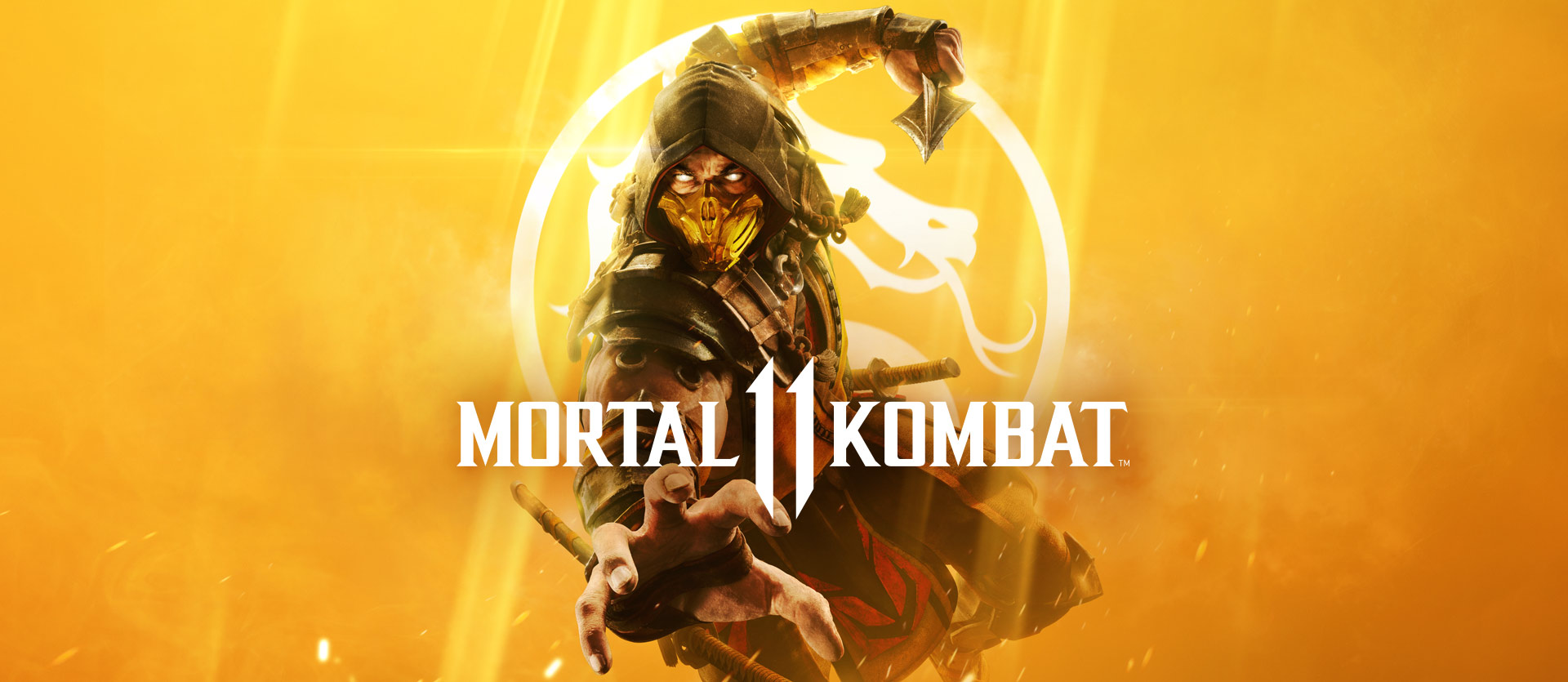 Mortal Kombat 11, Front view of Scorpion reaching out with his right hand