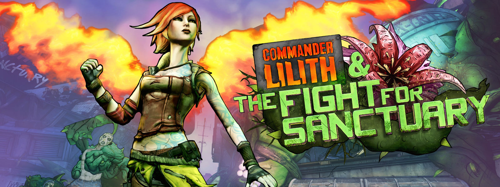 Commander Lilith and the Fight for Sanctuary logo, Lilith posing with fire behind her and a character with a green monster