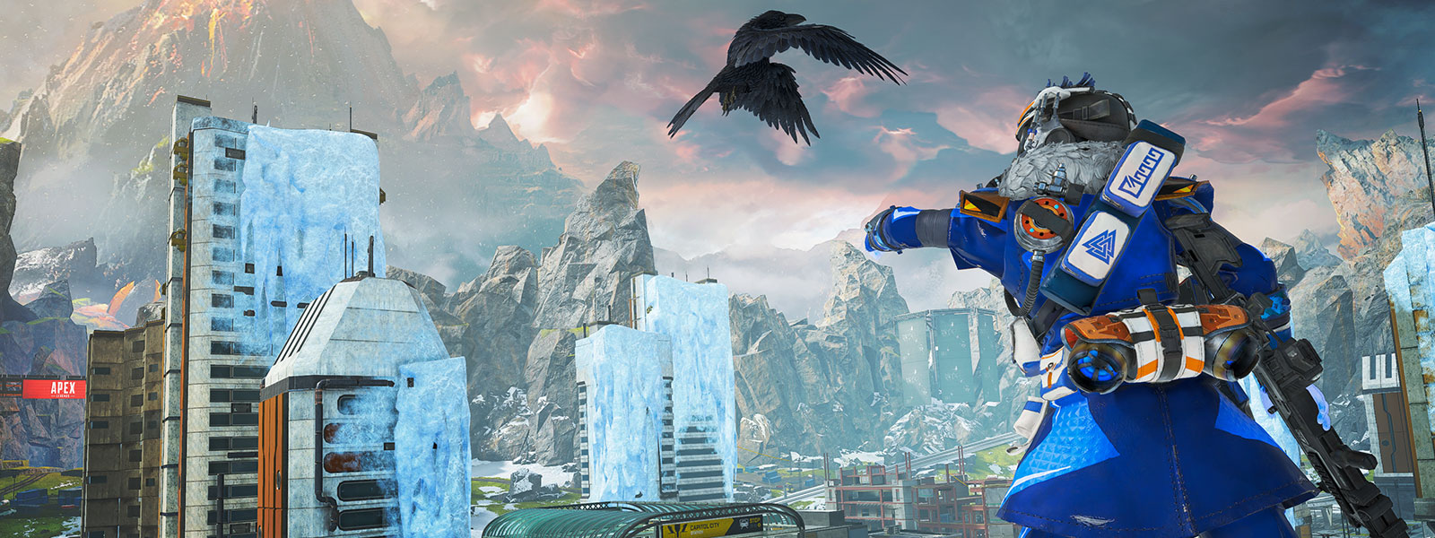 Character stands above a frozen city and extends his arm as a perch for a flying raven, volcano and cliffs in background