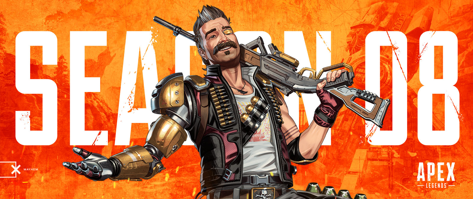 Apex Legends, Season 08, Mayhem, New hero Fuse smiles and poses with his 30-30 gun.
