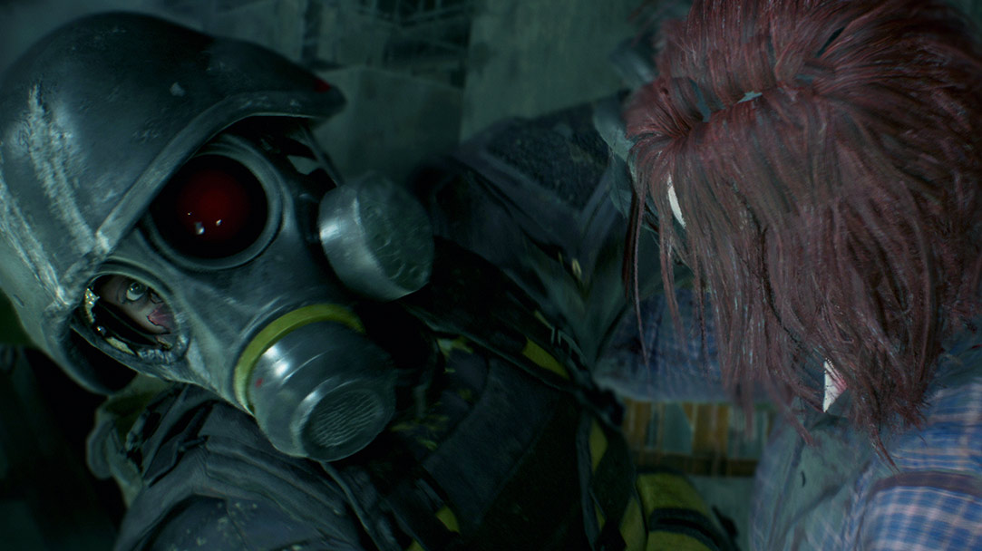 En Umbrella-agent med gasmaske bliver angrebet af en zombie