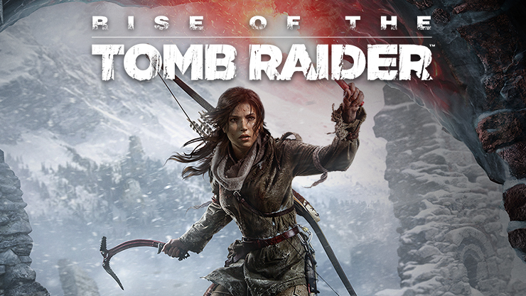 Rise of the Tomb Raider, Lara holds a flare at the entrance of a cave