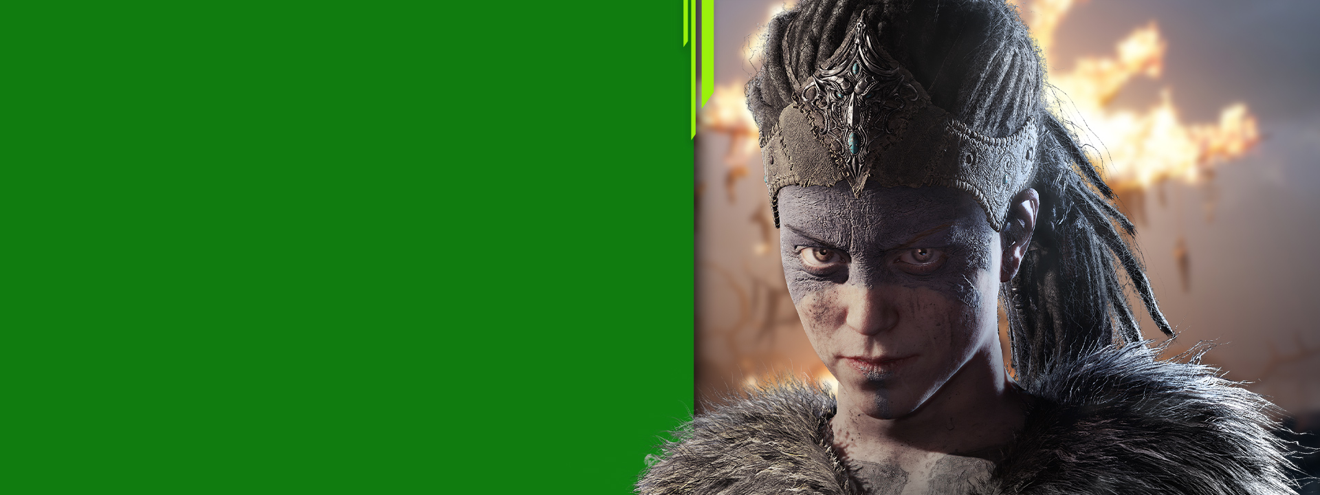 Senua, eine gebrochene keltische Kriegerin, in Hellblade: Senua's Sacrifice