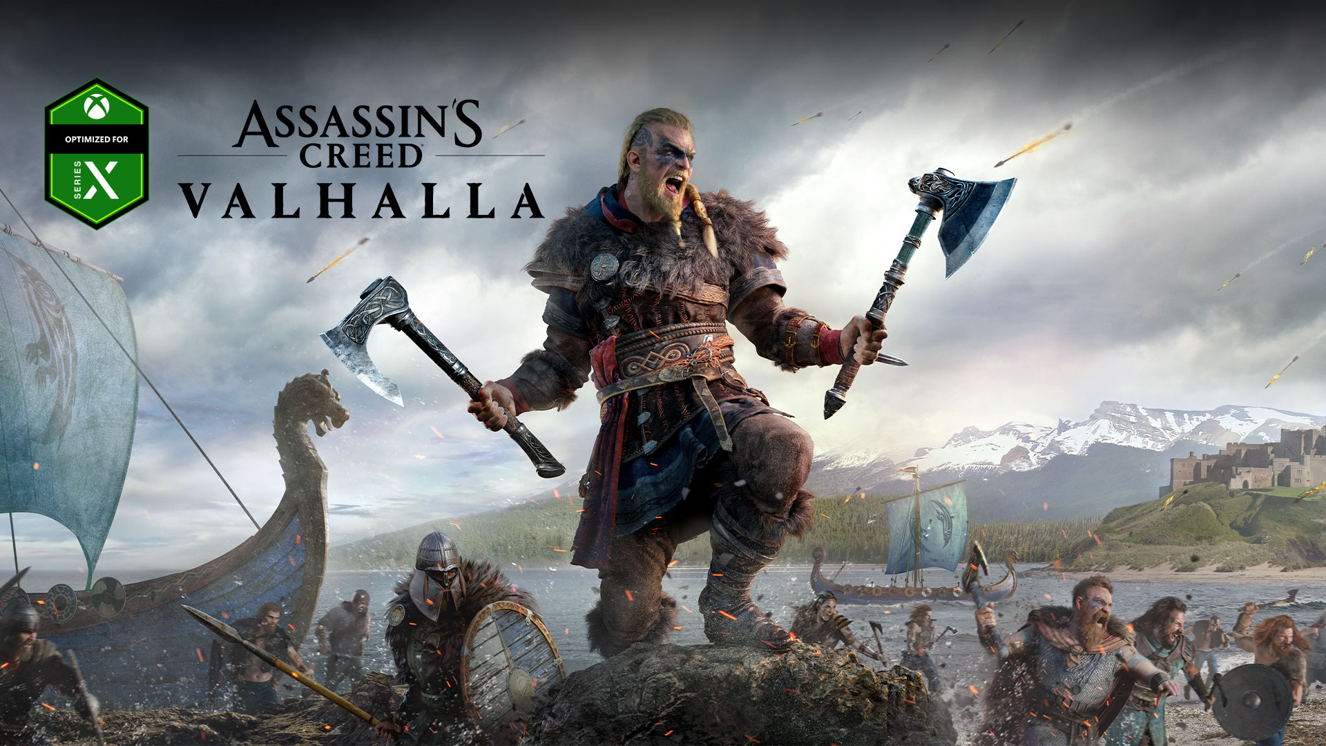 Optimized for Xbox Series X logo, Assassin's Creed Valhalla, character with two axes during battle