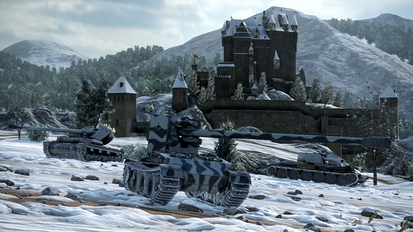 German tank destroyer class tanks positioned in front of snowy castle