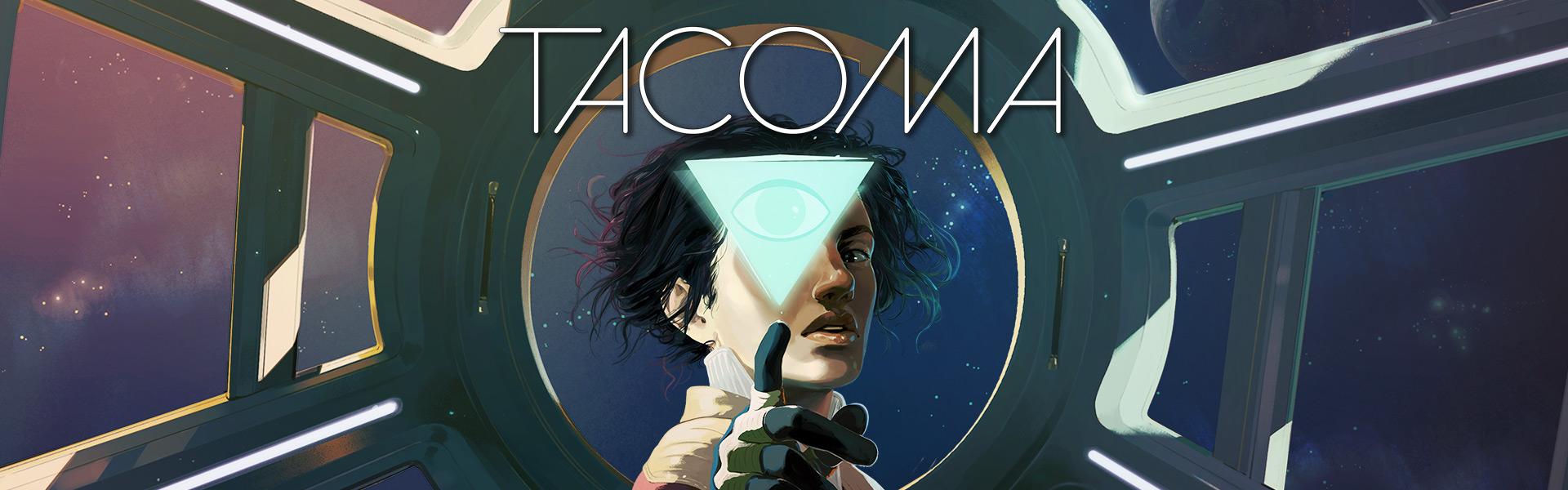 Tacoma. Hauptfigur zeigt auf KI mit Sternen im Hintergrund.