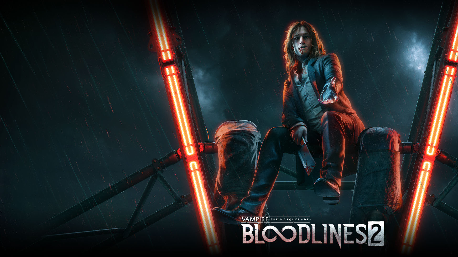 Vampire the Masquerade Bloodlines 2, A vampire smiles while resting on the spokes of a ferris wheel.