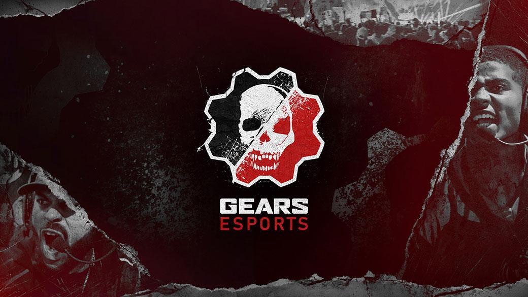 Tandwiellogo met zwarte, rode en witte schedel, Gears Esports op een vervaagde achtergrond van een stadion met mensen en een schreeuwende speler met een koptelefoon op