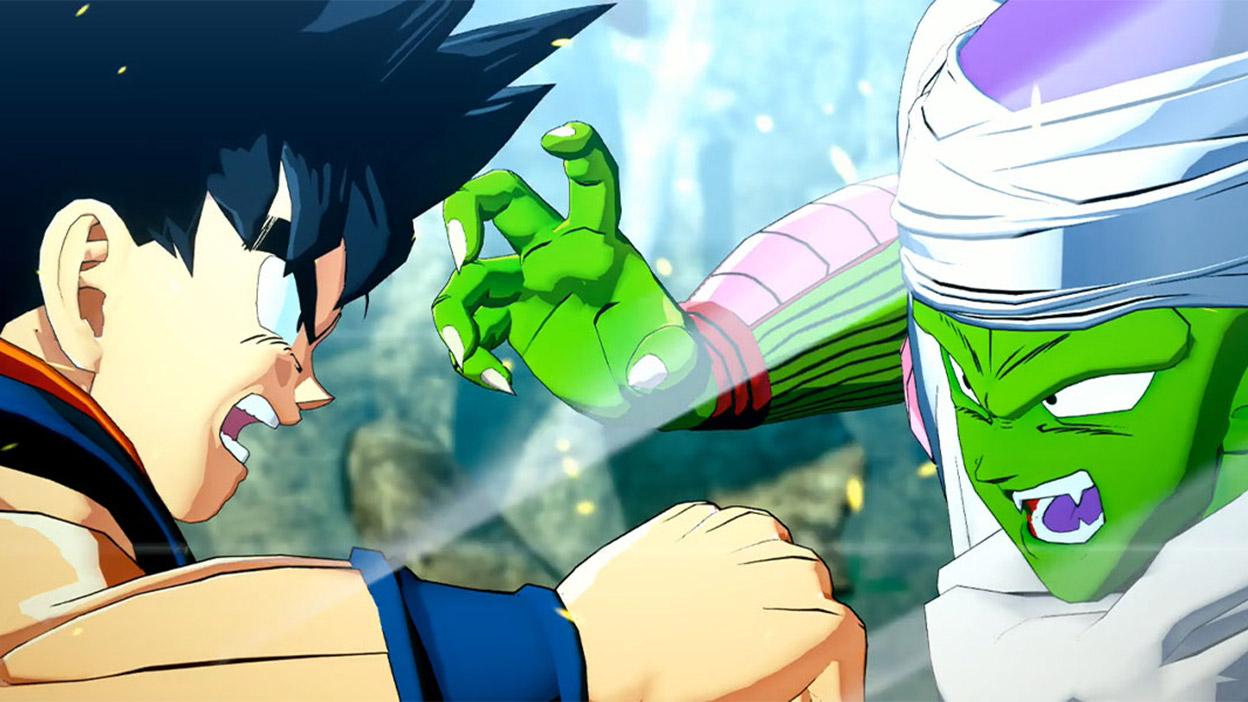 Goku et Piccolo se regardent avec colère tandis qu'ils se livrent à une bataille.