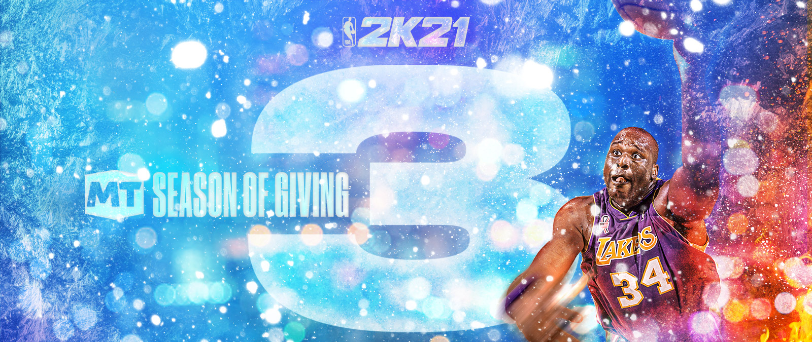 NBA 2k21, MT Season of Giving 3, Shaquille O'Neal goes for a slam dunk in a Lakers jersey.