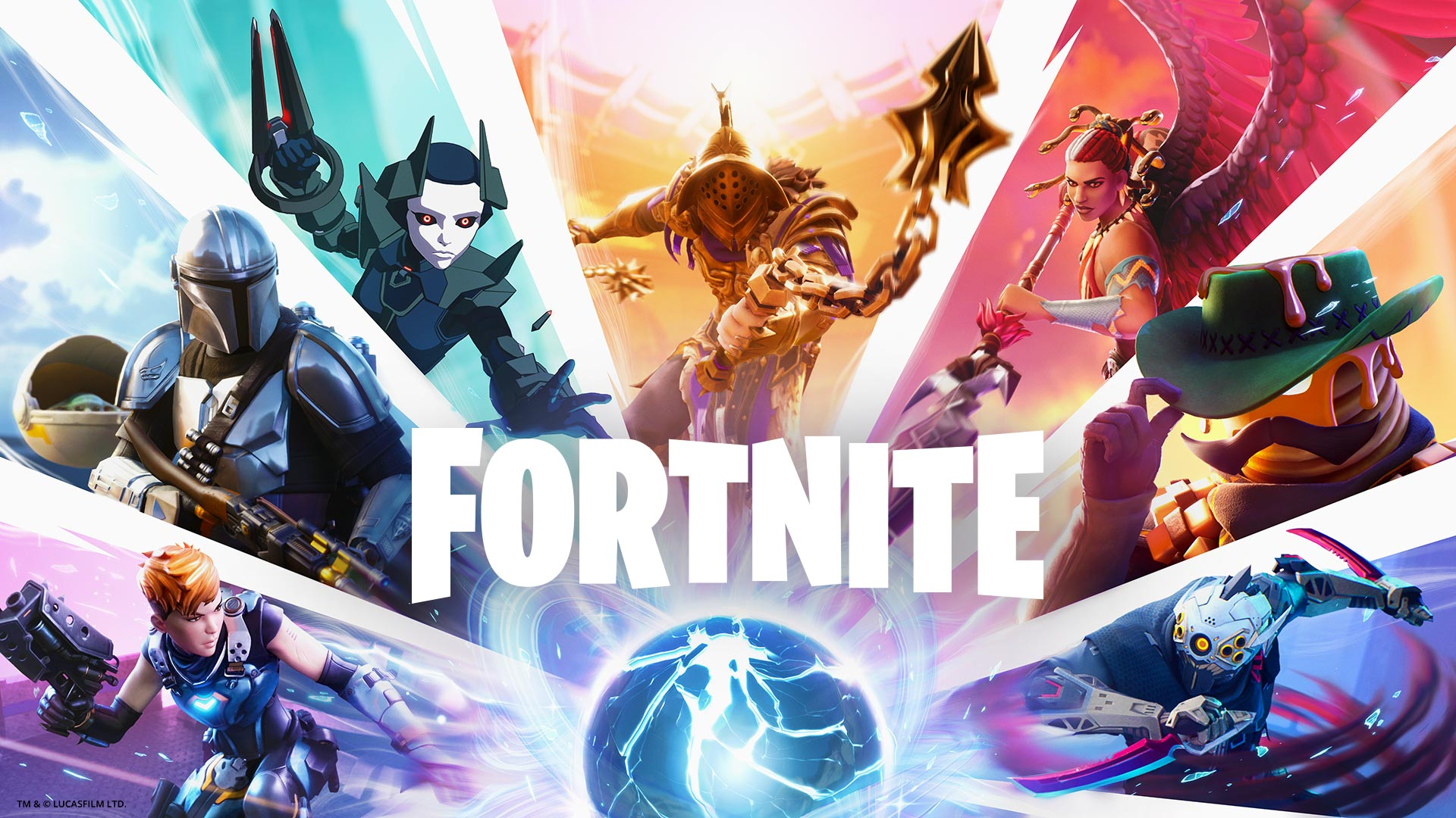 Fortnite, A collage of characters, including The Mandalorian, are all centered around a glowing blue orb.