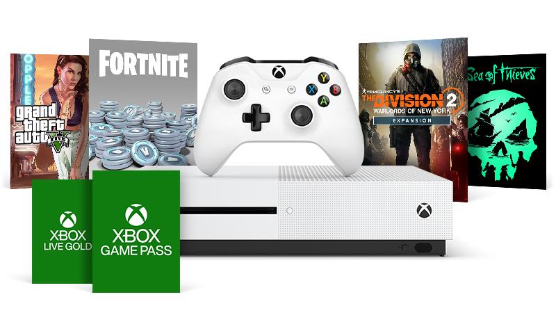 Una consola Xbox One S rodeada de cajas de juegos de Grand Theft Auto V, Pavos de Fortnite, la expansión Warlords de The Dicision 2, Sea of Thieves, Xbox Live Gold y Xbox Game Pass