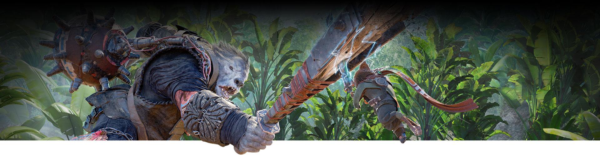Ein großes Monster schwingt eine riesige Fledermaus gegen einen mutierten Charakter.