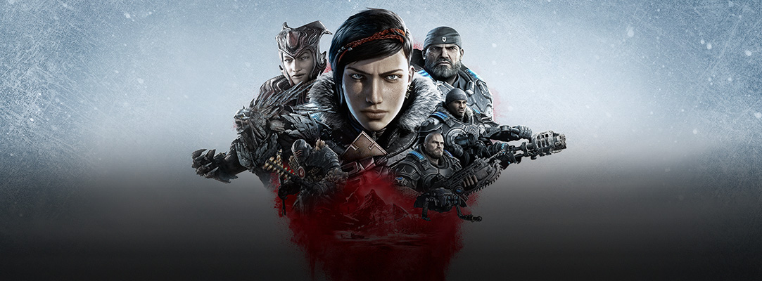 Ett collage med bilder på Gears 5-karaktärer mot en snöig bakgrund