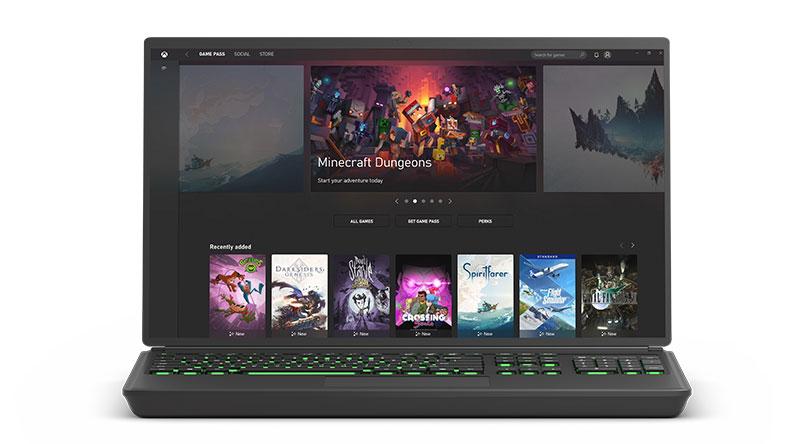 Capture d'écran de l'application Xbox sur Windows10 montrant la bibliothèque Xbox Game Pass