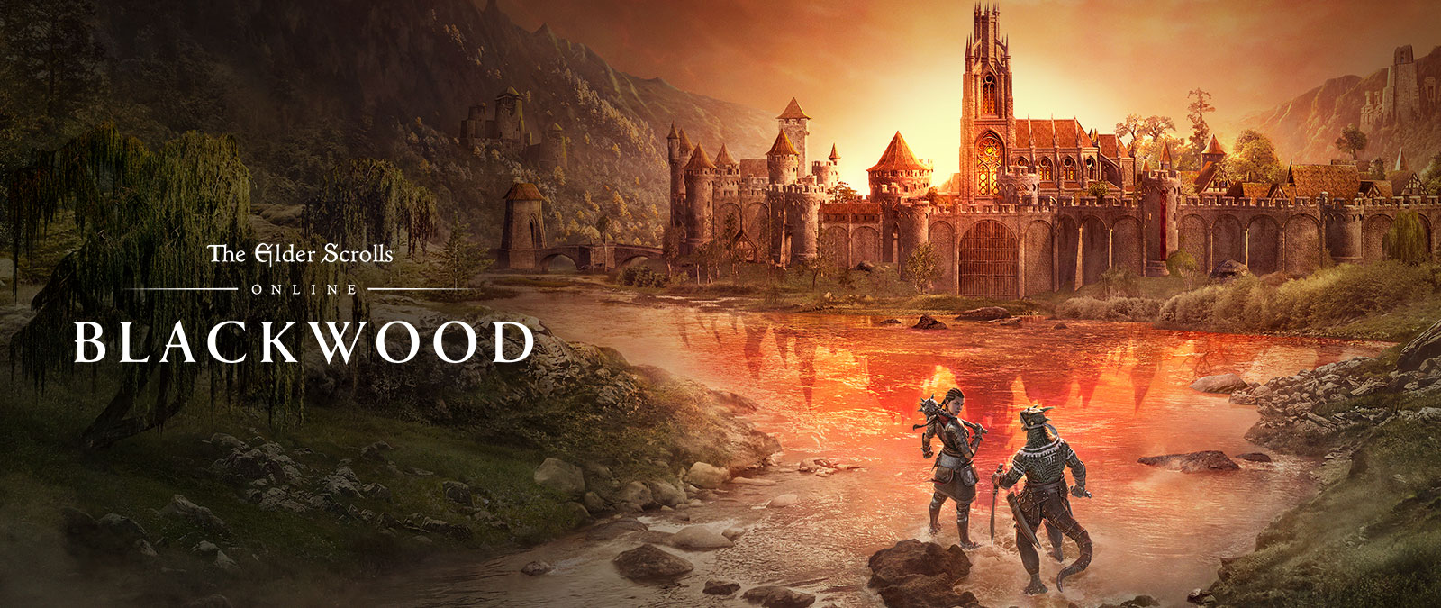The Elder Scrolls Online: Blackwood. Two characters in armour making their way towards a town at sunset