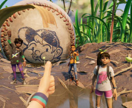 Grounded characters next to a baseball