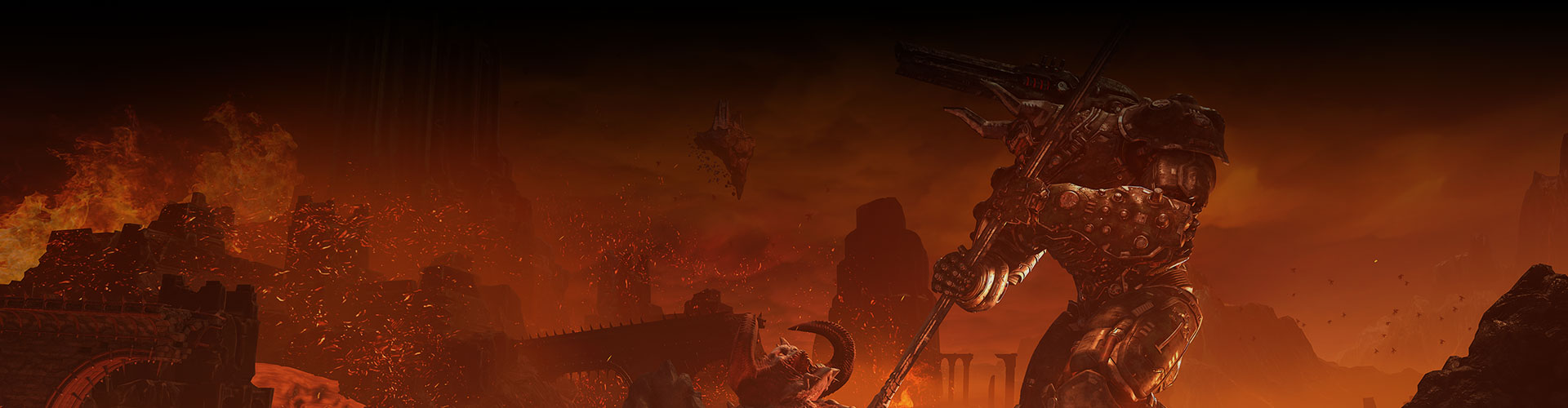 An underworld of monsters and spewing red lava in DOOM Eternal.