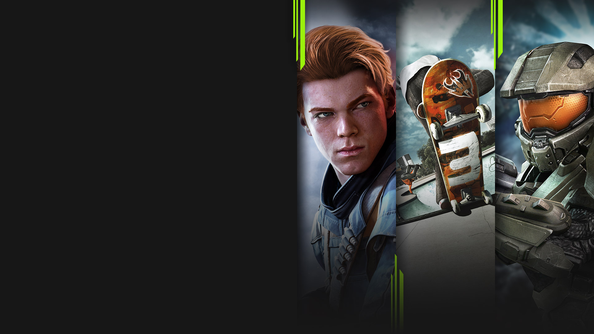 Game art from multiple games available with Xbox Game Pass including Star Wars Jedi: Fallen Order, Skate 3, and Halo 4.