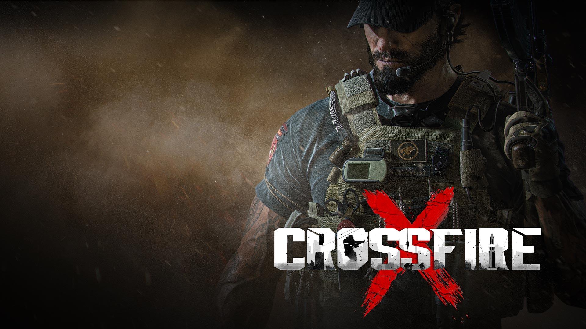 CrossfireX. Un hombre muy bien armado está de pie en medio del humo y la ceniza