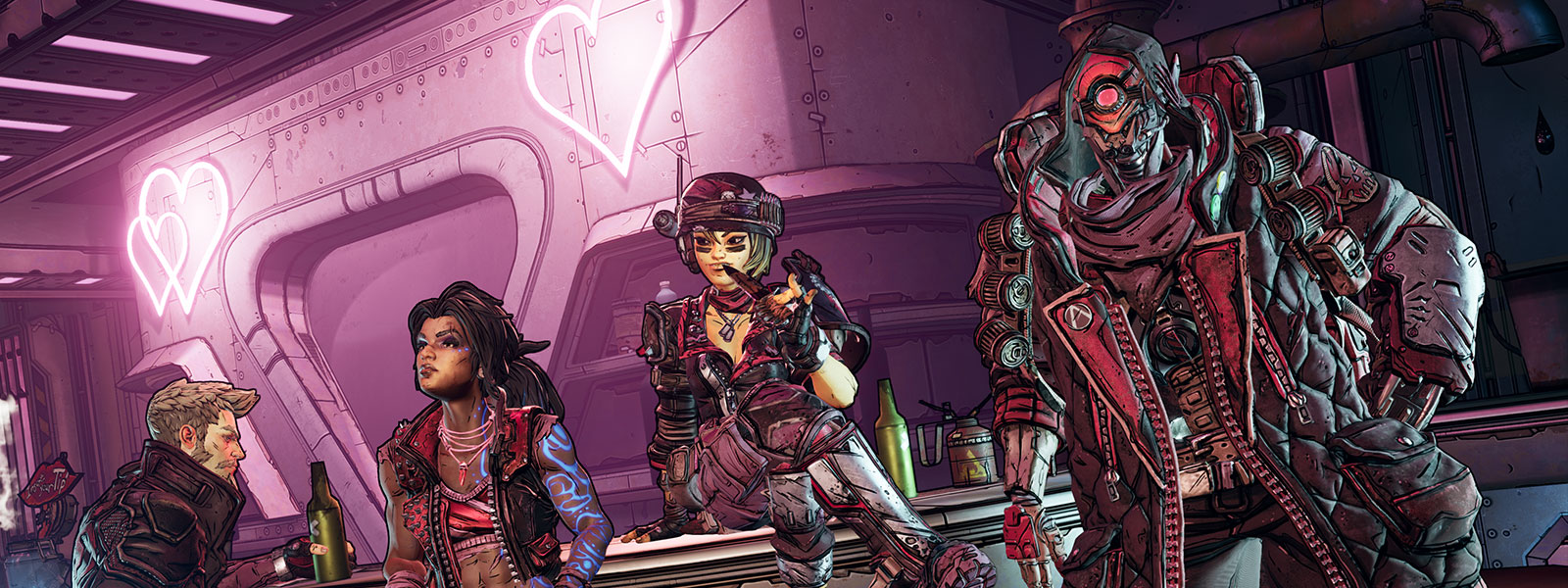 Borderlands 3 characters gather sadly around a bar decorated with neon hearts
