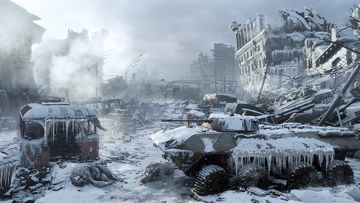 Frozen tank in a snow-covered desolated city
