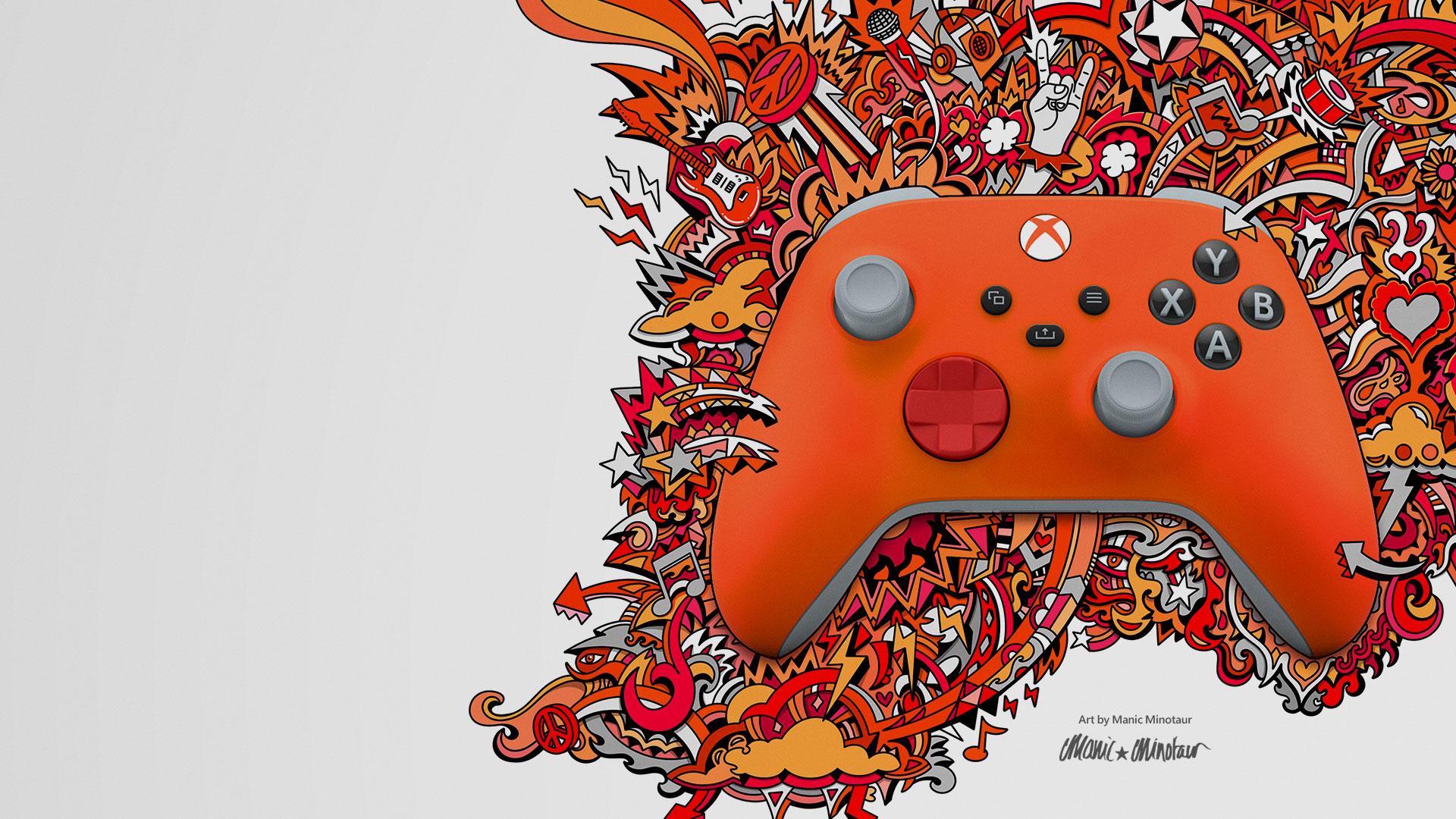 Un controller di Xbox Design Lab con motivi arancioni e rossi intrecciati con una grafica creata da Manic Minotaur