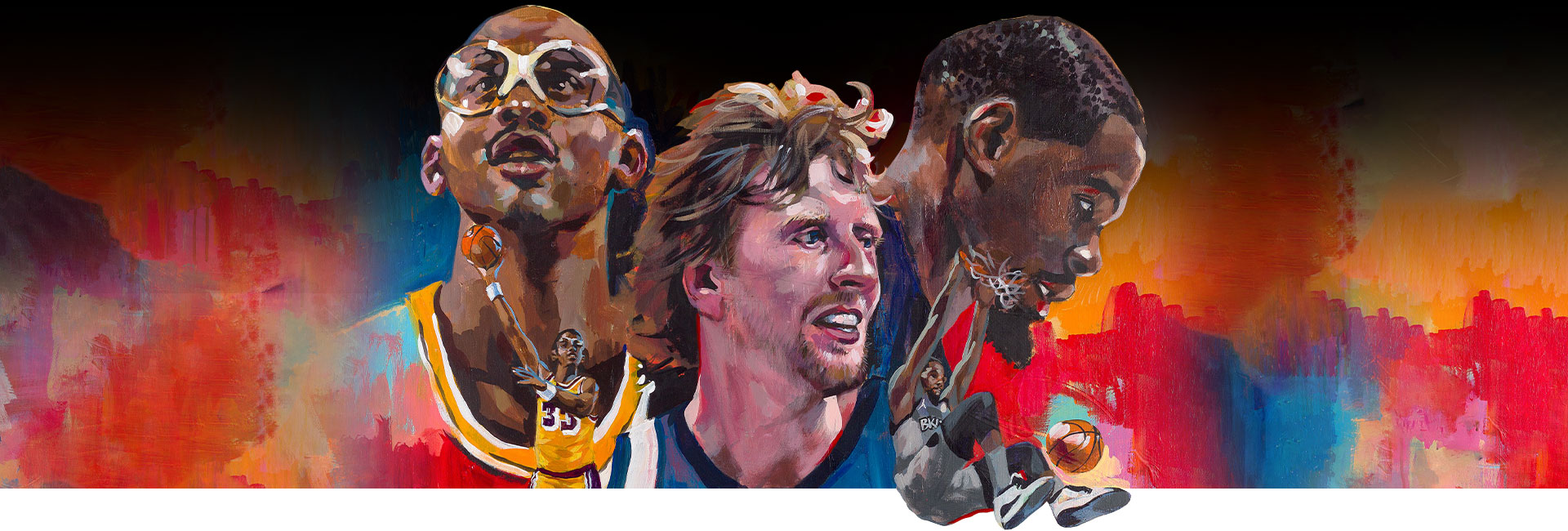 Artist renditions of Kareem Abdul Jabbar, Dirk Nowitzki and Kevin Durant.