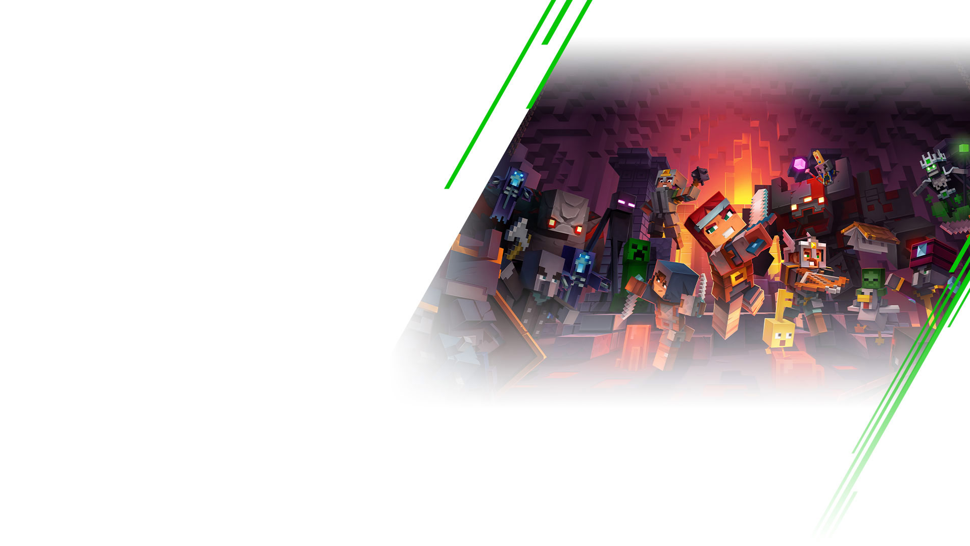 Minecraft Dungeons, Minecraft-personages die vechten in een dungeon.
