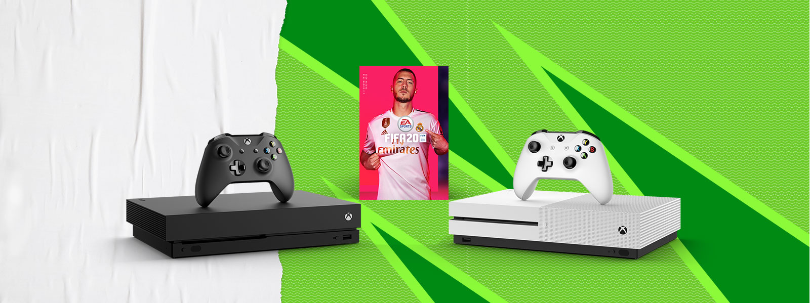 Xbox One X and Xbox One S with Fifa boxshot on a paper textured background