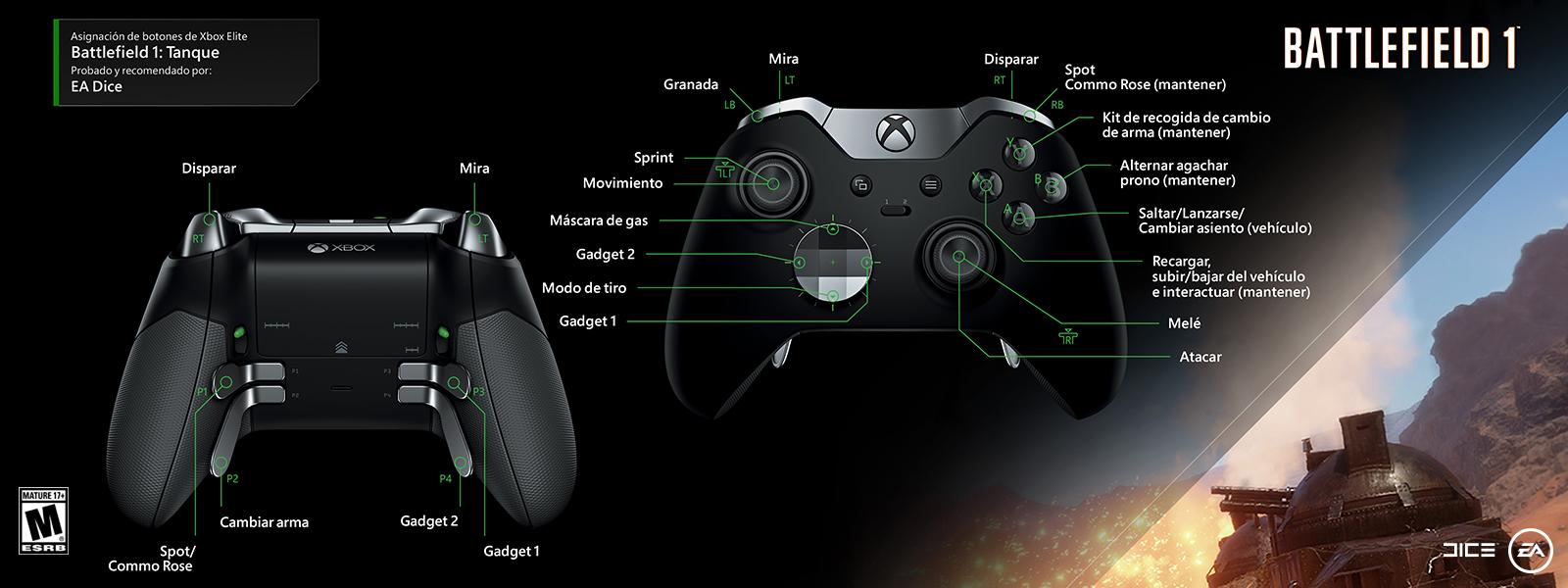 Battlefield 1: tanque (asignación de funciones del control Elite)