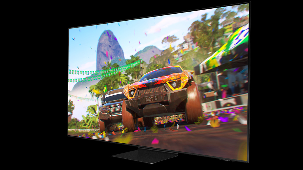 A Samsung TV that has the game DIRT 5 featured on-screen.