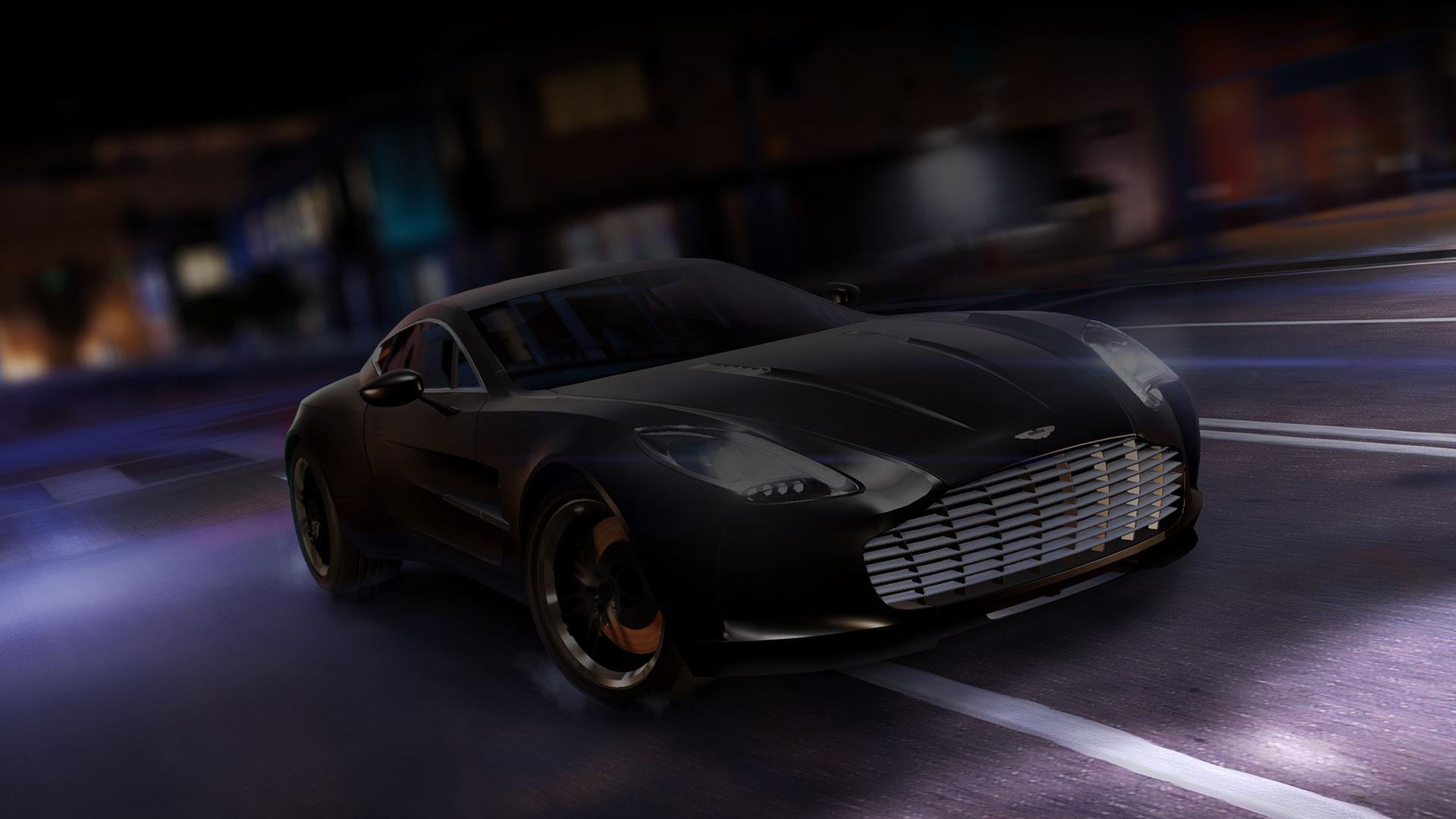Aston Martin noire dans une rue