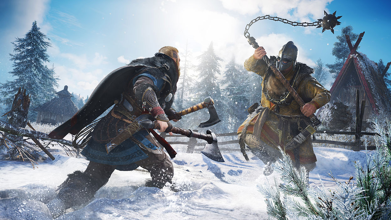 Two characters from Assassin's Creed Valhalla fighting in the snow