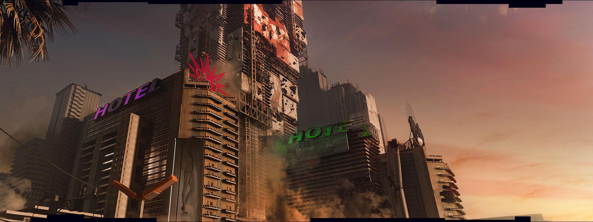 Vista com hotéis destruídos