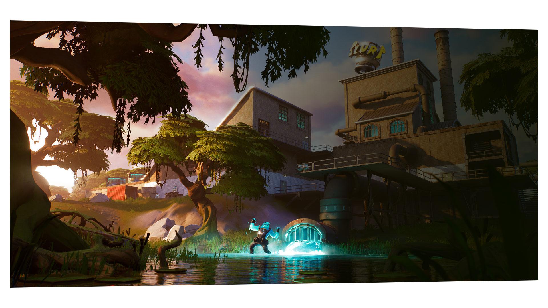 Un uomo ricoperto di melma luminescente grida in mezzo a una palude con una fabbrica sullo sfondo