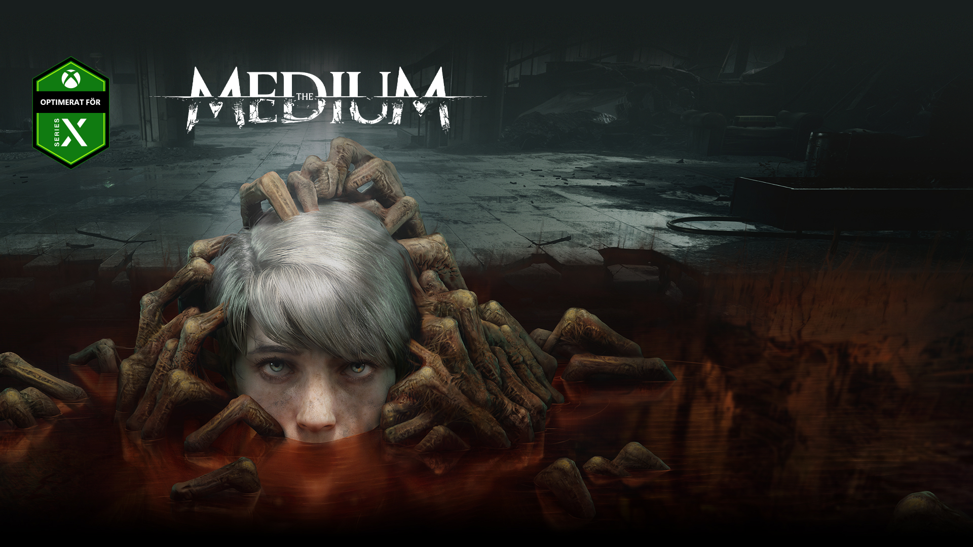 The Medium, Optimerat för Series X, ett barns huvud kommer upp ur en pöl omgivet av zombie-händer.