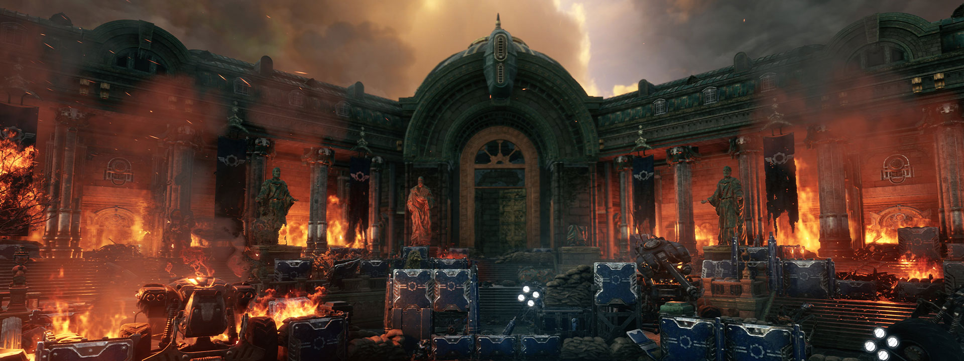 Burning building from Gears Tactics