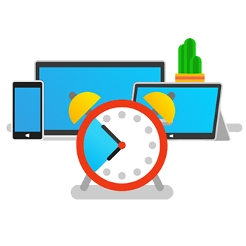 Illustration of a timer in front of a mobile phone, TV and tablet