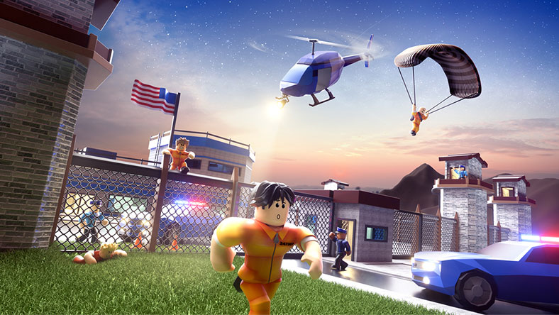 A player avatar in an orange jumpsuit flees from prison, pursued by a helicopter and a police car.