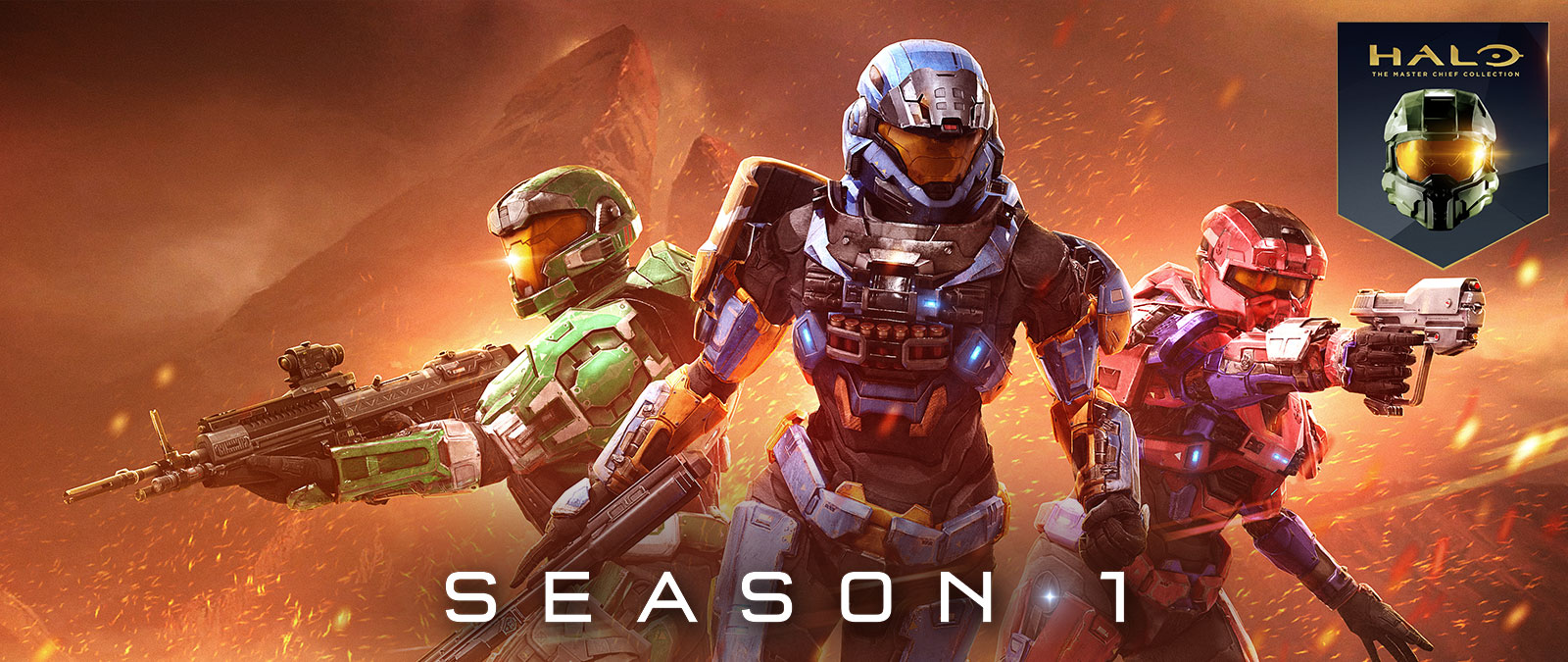 Halo: The Master Chief Collection, Season 1, 3 Χαρακτήρες από το Halo: Reach στέκονται μαζί σε ένα φλεγόμενο τοπίο