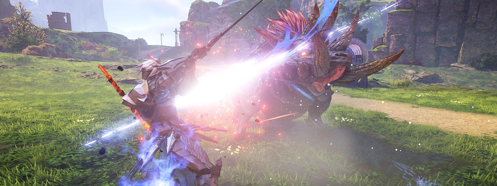 Personnage avec lumière bleue attaquant un monstre possédant plusieurs cornes avec une épée