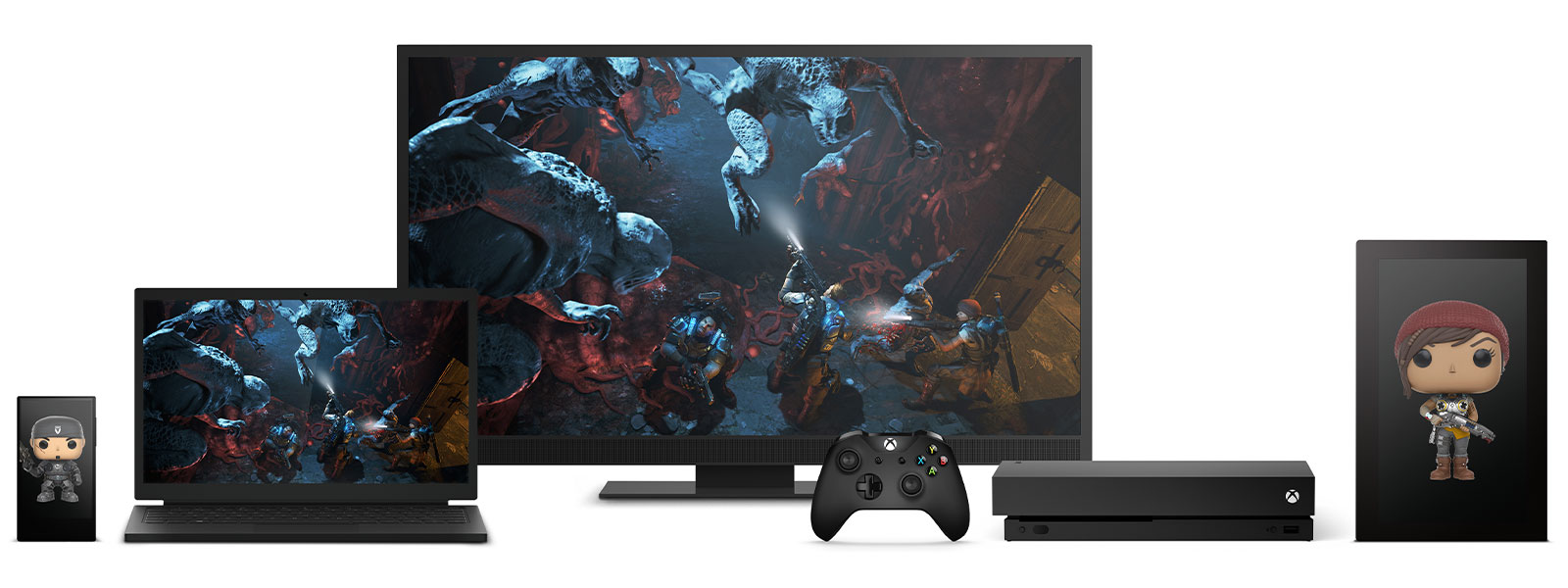 Front view of Xbox One X alongside various other devices displaying game characters and screenshots