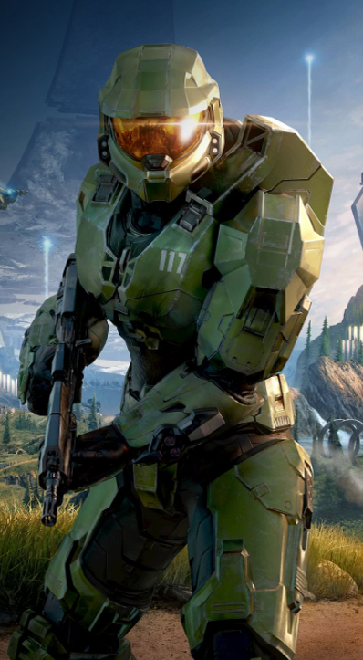 Master Chief holding an assault rifle