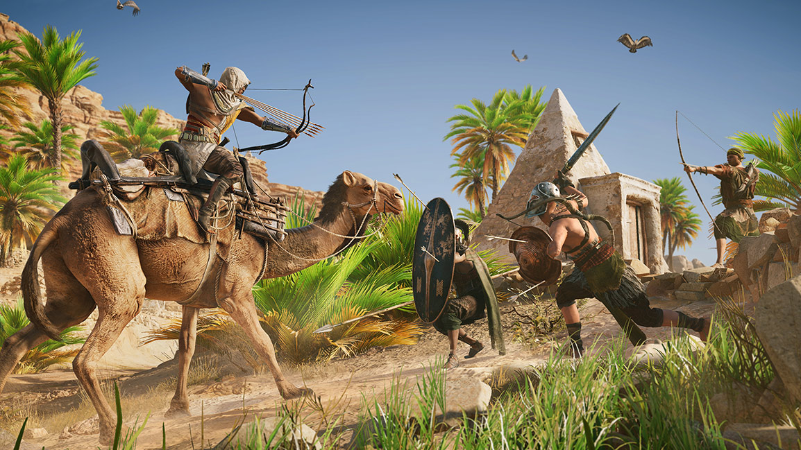 While riding a camel, Bayek shoots arrows at a group of enemies