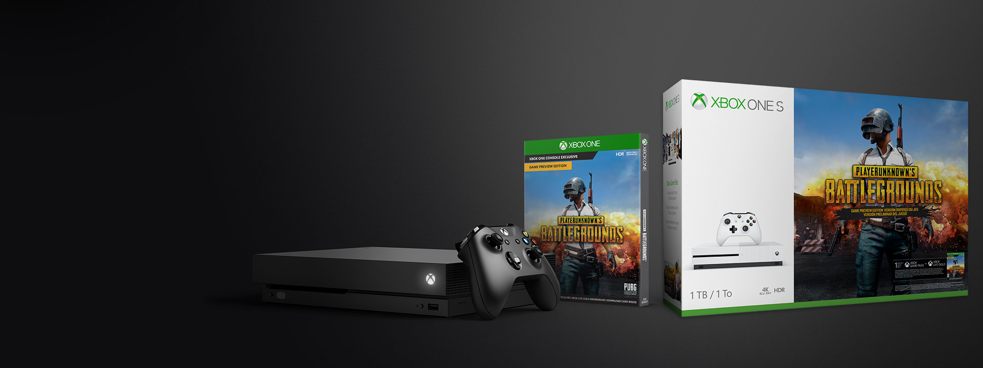 Xbox One X with PLAYERUNKNOWN BATTLEGROUNDS and Xbox One S PLAYERUNKNOWN BATTLEGROUNDS bundle